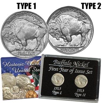 1913 Buffalo Nickel 2 piece Set - Type I & II