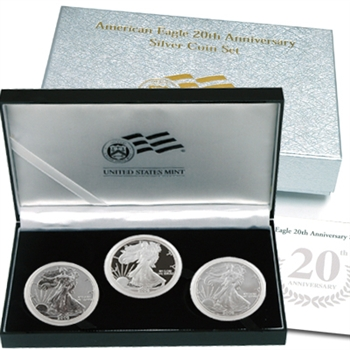 2006 American Eagle 20th Anniversary 3 Pc Silver Set