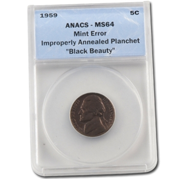 "1959 Jefferson Nickel - Improperly Annealed - ""Black Beauty"" - Certified"