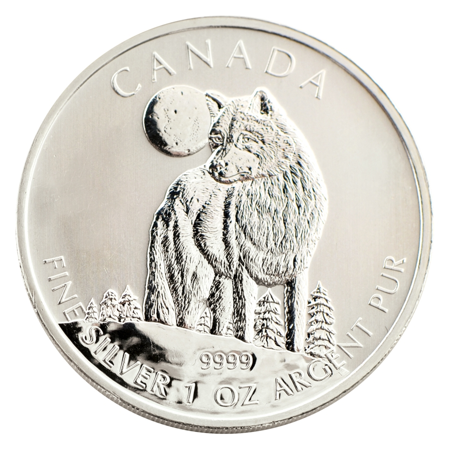 2011 Canadian 5 Silver Wolf Uncirculated