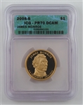 2008 James Monroe Presidential Dollar - Proof - San Francisco PR70