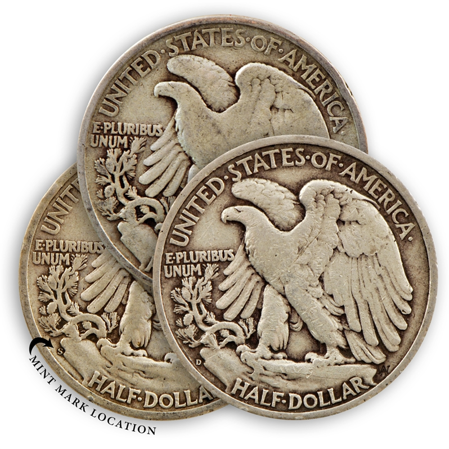 Walking Liberty Half Dollar Mint Mark Pds Collection