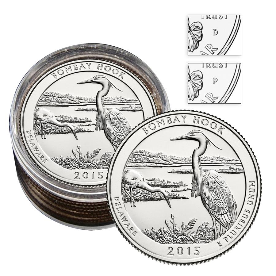 New state quarters 2015 - 2015 Delaware Bombay Hook National Wildlife Refuge National Park Roll Of 10 5 P 5 D
