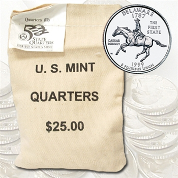 1999 Delaware $ 25 Government Bag Denver Mint Quarters – Uncirculated