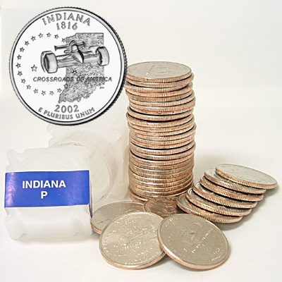 2002-P INDIANA STATE QUARTER UNCIRCULATED FROM US MINT ROLLS IN
