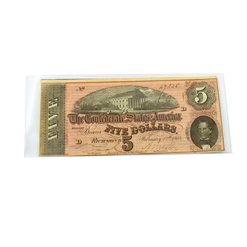 $5 Confederate Bank Note - Circulated