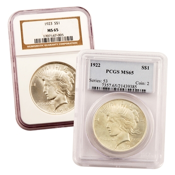 90% Silver Peace Dollar - Certified MS65