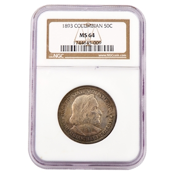 1893 Columbus Commemorative Half Dollar - Certified 64