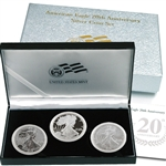 2006 American Eagle 20th Anniversary 3 pc Silver Set