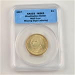 2007 Washington Dollar Error - Smooth Edge - Certified MS65