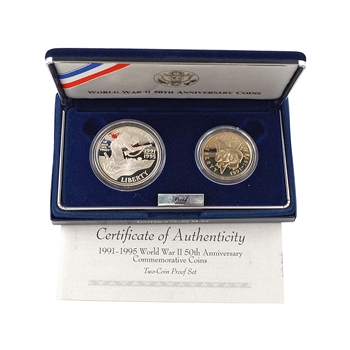 1991 - 1995 WWII 50th Anniversary 2 pc Proof Collection