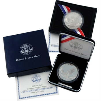2008 Bald Eagle Dollar 2 pc Set - Uncirculated & Proof