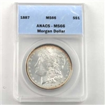 1887 Morgan Silver Dollar - Philadelphia - Certified 66