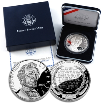 2009 Lincoln Commemorative Silver Dollar - PROOF