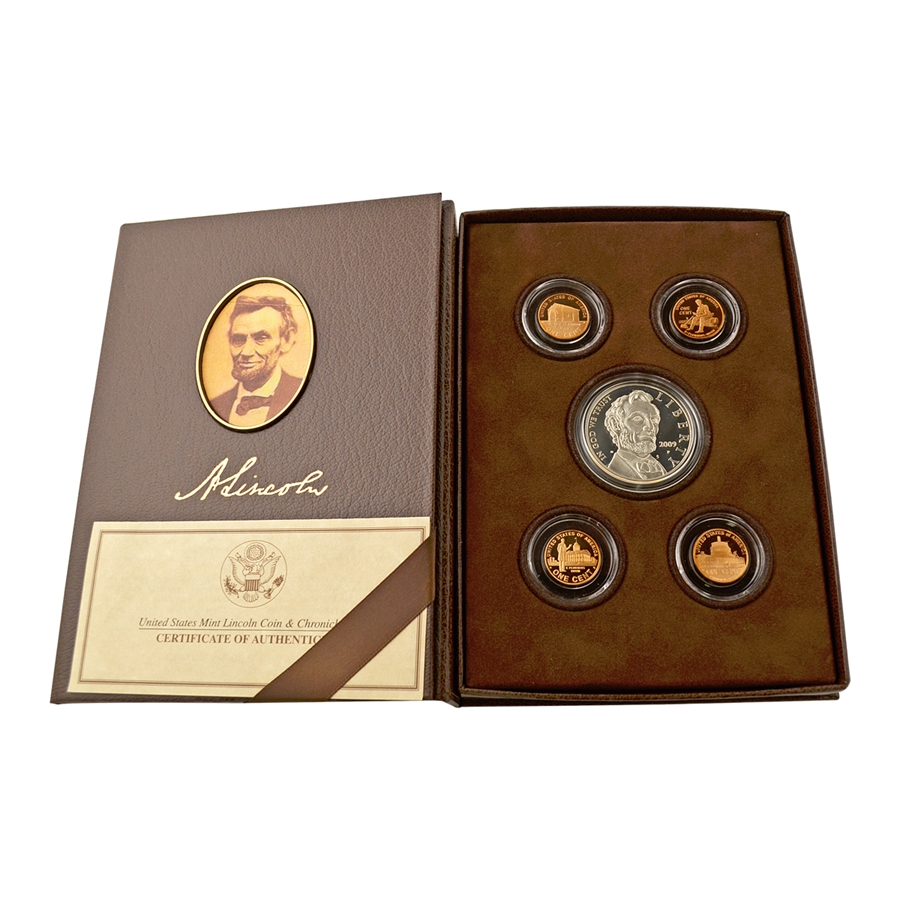 AND OUTER WHITE SLEEVE C O A 2009 LINCOLN COIN AND CHRONICLES SETS WITH BOX