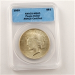 1925 Peace Dollar Certified MS63