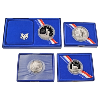 1986 Statue of Liberty Dollar & Half Dollar 4 pc Collection - Proof & Uncirculated