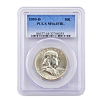 1959 Franklin Half Dollar - Denver - PCGS MS64 FBL