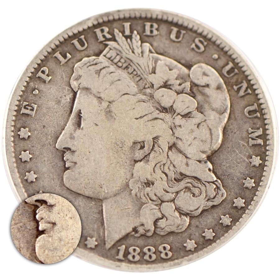 1888 Hot Lips Morgan Dollar O Mint Anacs Authentic