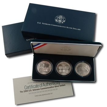 1994 US Veterans Silver Dollar 3 pc - Uncirculated
