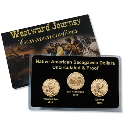 2010 Three Coin Sacagawea Native American PDS Set from Mint Rolls//Proof Sets