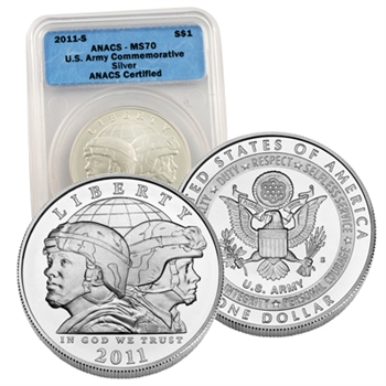 2011 Army Silver Dollar - Uncirculated - Certified 70