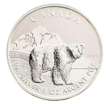 2011 Canadian 5 Silver Grizzly Uncirculated