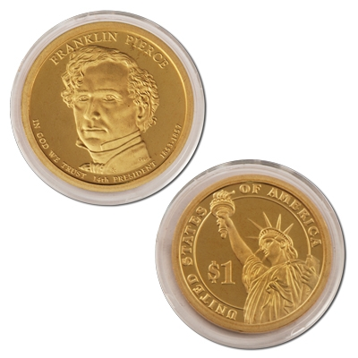 2010-S Presidential Dollar Proof Franklin Pierce FP Golden Nice No Problem Coin