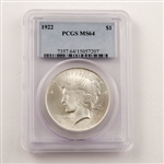 1922 Peace Dollar Certified MS64