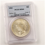 1923 Peace Dollar Certified MS64