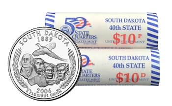 2006 US Mint Licensed Album - South Dakota State Quarter Rolls - Philadelphia & Denver