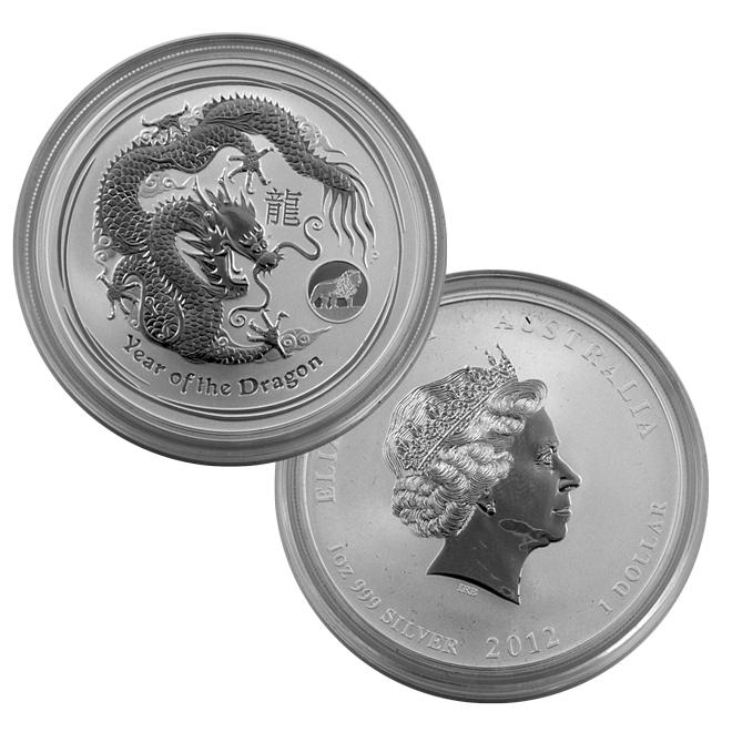 2012 Australian Year Of The Dragon 1 Oz Silver Lion Privy