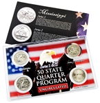 Mississippi Series 1 & 2 - 4pc Quarter Set- UNC