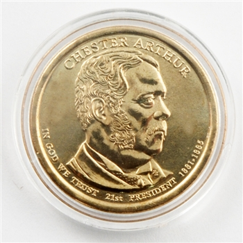 2012 Chester Arthur Dollar - Philadelphia - Uncirculated in  a Capsule