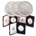 First Year Mint Mark Silver Eagle Proof 3 Coin Set