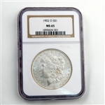 1902 Morgan Silver Dollar - New Orleans - Certified 65