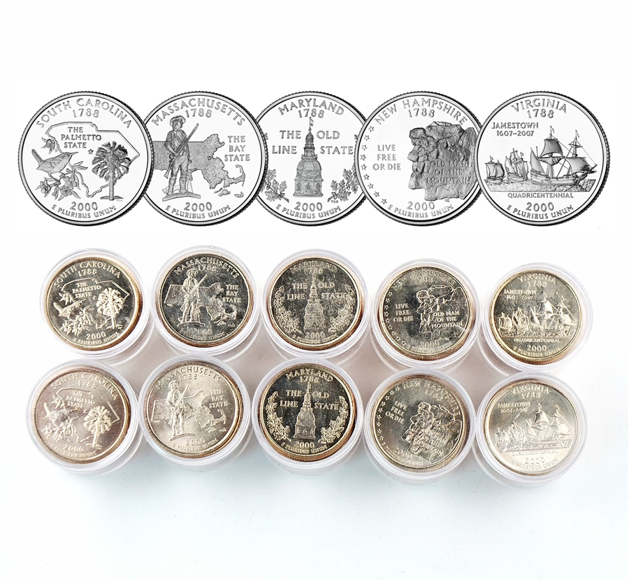 2001 P /& D State Quarter Set From Mint Rolls 10 Quarter Set Uncirculated