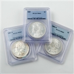 POS Morgan Dollar Mint Mark 3 pc Set - Certified 63