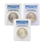 New Orleans Mint Morgan Trio - 1883 to 1885 - Certified 64