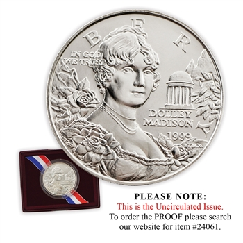 1999 Dolley Madison Silver Dollar - Uncirculated