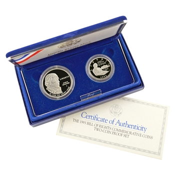 1993 Bill of Rights 2pc Silver Set - Proof