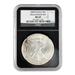 2000 Silver Eagle - Millennium - West Point - NGC 69
