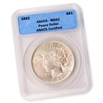 1922 Peace Dollar Certified MS62