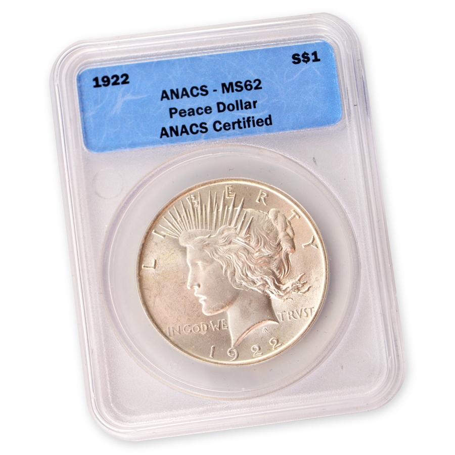 1922 Peace Dollar Certified Ms62