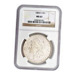 1884 Morgan Silver Dollar - New Orleans ( O ) - NGC MS63