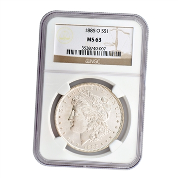 1885 Morgan Silver Dollar - New Orleans ( O ) - Certified 63