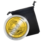 2014 Utah Arches National Park Quarter - Philadelphia - Gold Plated in Capsule