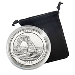 2014 Utah Arches National Park Quarter - Denver - Platinum Plated in Capsule