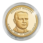 2014 Herbert Hoover Presidential Dollar - Philadelphia - Gold Plated in Capsule