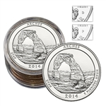 2014 Utah Arches National Park Quarter - Collectors Roll - Philadelphia (5) and Denver (5